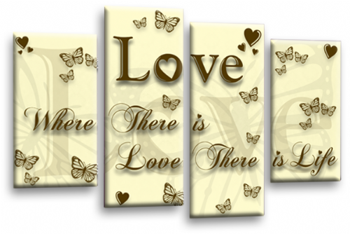 Love Quote Wall Art Print Cream Brown Family Picture